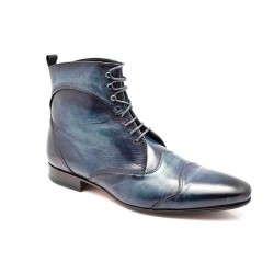 "Bottines JAZZ High Patine ""Bleu Abbys"" par l'Atelier Paulus Bolten"