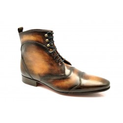 "Bottines JAZZ High patine ""Noyer - Miel"" par l'Atelier Paulus Bolten paris"